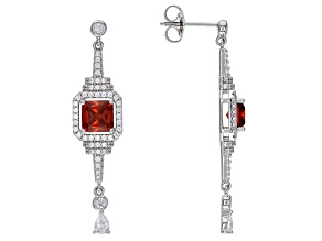 Orange and White Cubic Zirconia Rhodium Over Sterling Silver Earrings 5.04ctw