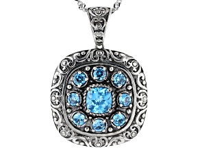 Blue Cubic Zirconia Rhodium Over Sterling Silver Pendant With Chain 2.72ctw