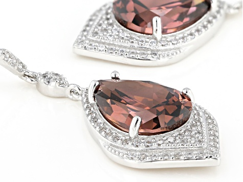 Blush and White Cubic Zirconia Rhodium Over Sterling Silver Earrings 20.00ctw