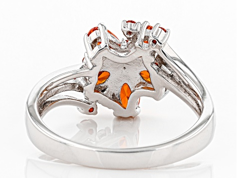 Orange Cubic Zirconia Rhodium Over Sterling Silver Ring 1.93ctw
