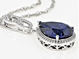 Blue and White Cubic Zirconia Rhodium Over Sterling Silver Pendant With Chain 15.03ctw.