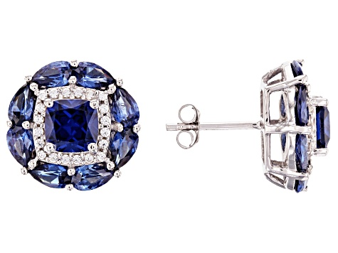 Blue And White Cubic Zirconia Rhodium Over Sterling Silver Earrings 4.97ctw
