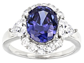 Blue and White Cubic Zirconia Rhodium Over Sterling Silver Ring 7.05