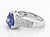 Blue And White Cubic Zirconia Rhodium Over Sterling Silver Ring 6.40ctw