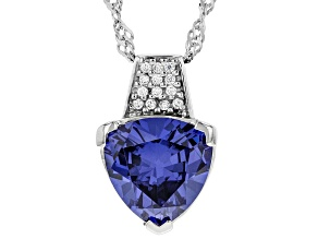 Blue And White Cubic Zirconia Rhodium Over Sterling Silver Pendant With Chain 6.15ctw