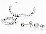 Blue Cubic Zirconia Rhodium Over Sterling Silver Hoop and Stud Earring Set 6.56ctw