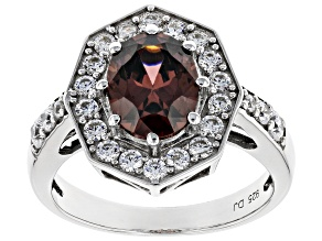 Blush and White Cubic Zirconia Rhodium Over Sterling Silver Ring 4.45ctw