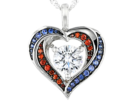 Red, White, and Blue Cubic Zirconia Rhodium Over Sterling Silver Heart Pendant With Chain 2.78ctw