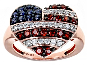 Red, Blue, and White Cubic Zirconia 18k Rose Gold Over Sterling Silver Heart Ring 2.22ctw