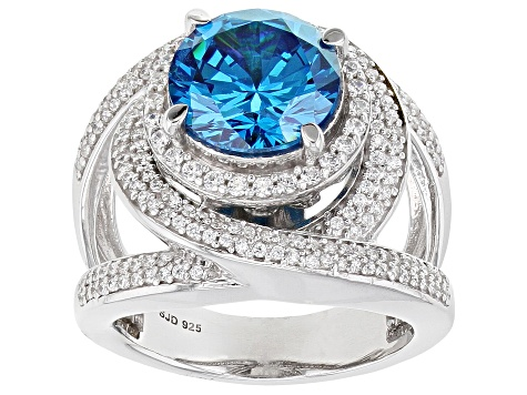 Blue and White Cubic Zirconia Rhodium Over Sterling Silver Ring 8.65ctw