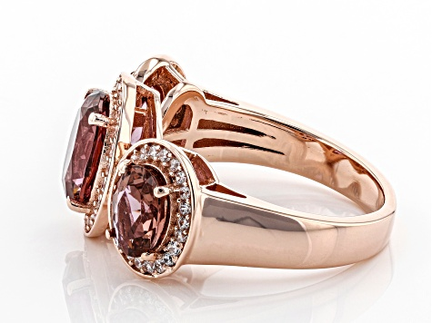Blush and White Cubic Zirconia 18k Rose Gold Over Sterling Silver Ring 2.88ctw