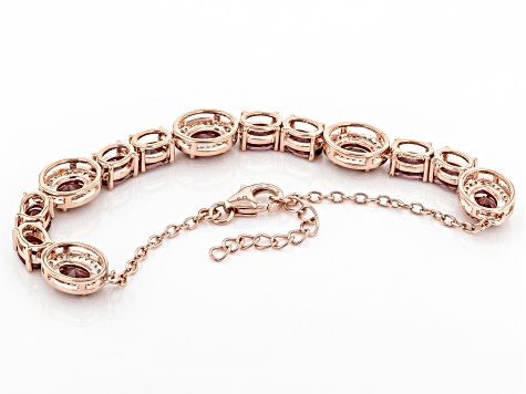 Blush and White Cubic Zirconia 18k Rose Gold Over Sterling Silver Bracelet