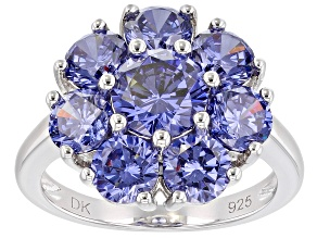 Blue Cubic Zirconia Rhodium Over Sterling Silver Ring 8.07ctw