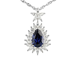 Blue And White Cubic Zirconia Rhodium Over Sterling Silver Pendant With Chain 7.62ctw