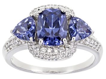 Picture of Blue and White Cubic Zirconia Rhodium Over Sterling Silver Ring 4.65ctw