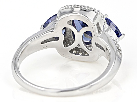 Blue and White Cubic Zirconia Rhodium Over Sterling Silver Ring 4.65ctw