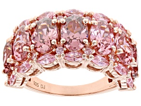 Blush and Pink Cubic Zirconia 18k Rose Gold Over Sterling Silver Ring 11.01ctw