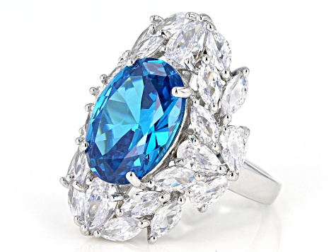 Blue And White Cubic Zirconia Rhodium Over Sterling Silver Ring 16.12ctw