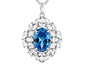 Blue And White Cubic Zirconia Rhodium Over Sterling Silver Pendant With Chain 16.12ctw