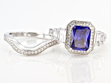 Blue And White Cubic Zirconia Rhodium Over Sterling Silver Ring 4.69ctw