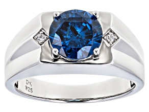 Blue And White Cubic Zirconia Rhodium Over Sterling Silver Mens Ring 4.96ctw