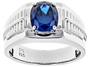 Blue Cubic Zirconia Rhodium Over Sterling Silver Mens Ring 4.40ctw