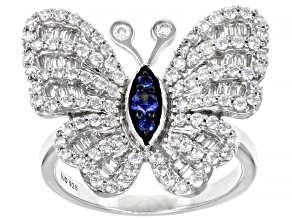 Blue and White Cubic Zirconia Rhodium Over Sterling Silver Butterfly Ring 2.19ctw