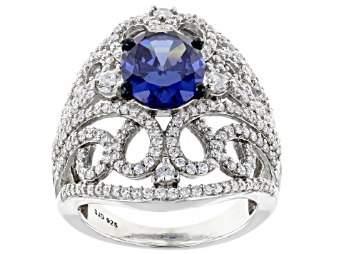 Blue And White Cubic Zirconia Rhodium Over Sterling Silver Ring 6.58ctw