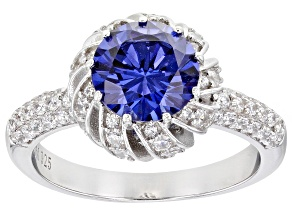 Blue And White Cubic Zirconia Rhodium Over Sterling Silver Ring 4.63ctw