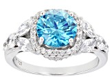 Blue And White Cubic Zirconia Rhodium Over Sterling Silver Ring 5.22ctw