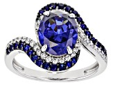 Lab Created Blue Sapphire, Blue And White Cubic Zirconia Rhodium Over Sterling Silver Ring 5.18ctw