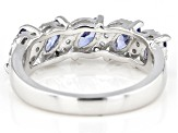 Blue And White Cubic Zirconia Rhodium Over Sterling Silver Ring 2.56ctw