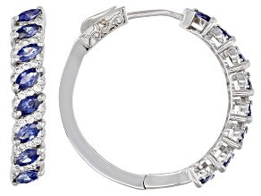 Blue And White Cubic Zirconia Rhodium Over Sterling Silver Hoop Earrings 2.28ctw