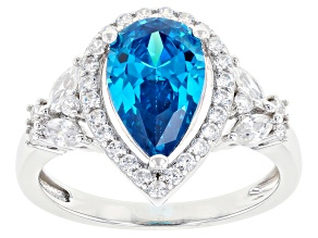 Blue And White Cubic Zirconia Rhodium Over Sterling Silver Ring 4.72ctw