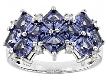 Picture of Blue And White Cubic Zirconia Rhodium Over Sterling Silver Ring 5.95ctw
