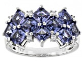 Blue And White Cubic Zirconia Rhodium Over Sterling Silver Ring 5.95ctw