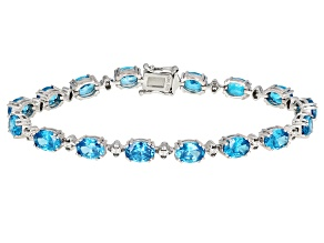 Blue And White Cubic Zirconia Rhodium Over Sterling Silver Bracelet 22.22ctw