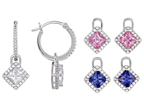Blue, Pink, And White Cubic Zirconia Rhodium Over Silver Interchangeable Earrings 6.91ctw