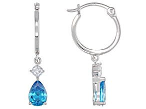 Blue And White Cubic Zirconia Rhodium Over Sterling Silver Earrings 2.26ctw