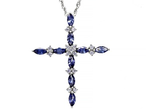 Blue And White Cubic Zirconia Rhodium Over Sterling Silver Cross Pendant With Chain 2.40ctw