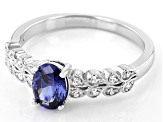 Blue And White Cubic Zirconia Rhodium Over Sterling Silver Ring 1.25ctw