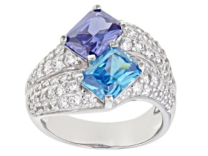 Blue, Green And White Cubic Zirconia Rhodium Over Sterling Silver Ring 7.73ctw
