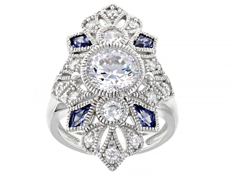 Blue And White Cubic Zirconia Rhodium Over Sterling Silver Ring 5.32ctw