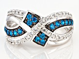 Blue And White Cubic Zirconia Rhodium Over Sterling Silver Ring 1.49ctw