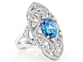 Blue And White Cubic Zirconia Rhodium Over Sterling Silver Ring 5.09ctw