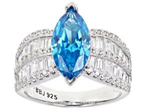 Blue And White Cubic Zirconia Rhodium Over Sterling Silver Ring 5.99ctw
