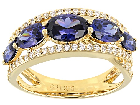 Blue And White Cubic Zirconia 18K Yellow Gold Over Sterling Silver Ring 4.80ctw