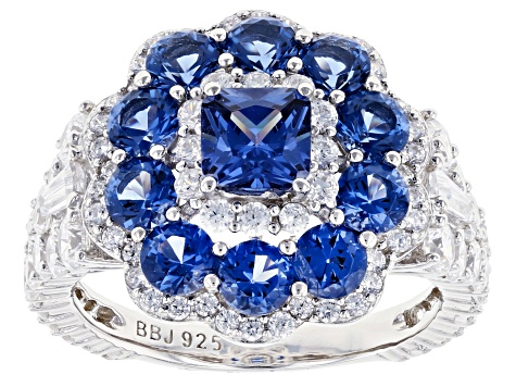 Blue And White Cubic Zirconia Rhodium Over Sterling Silver Ring 5.96ctw