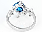 Blue And White Cubic Zirconia Rhodium Over Sterling Silver Leaf Ring 3.19ctw