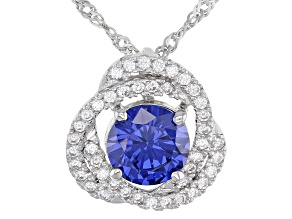 Blue And White Cubic Zirconia Rhodium Over Sterling Silver Pendant With Chain 3.96ctw